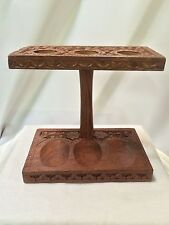Vintage/new 3 Tobacco Smoking Pipe engraved Wooden Stand Rack Holder