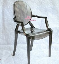 1/6 Barbie Blythe Black Tranparent Plastic Arm Chair Dollhouse Miniature
