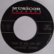 GEORGE JONES: WHEN THE WIFE RUNS OFF country 45 on MUSICOR super rare HEAR IT