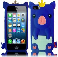 Apple iPhone 5 5S SE Rubber SILICONE Soft Skin Case Cover Crown Pig Dark Blue