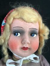 German 16� Paper Mache Fabric Hand Painted Face Sawdust Stuffed Doll (17)