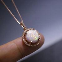 Frauen Mode Opal Kristall Anhänger Halskette Kette Braut Hochzeit Schmuck Ge  ZD