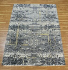 Hand Knotted Antique Look Modern Carpet 6x9 Indian Handmade Wool Silk Area Rugs