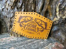 Gone Fishing Patch Sew On Genuine leather Cap Badge jacket 542