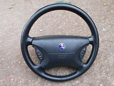 SAAB 93 95 MODELS 98 - 10 BLACK LEATHER STEERING WHEEL, STEREO, AIR BAG AND HORN