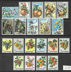 FRUITS and FLOWERS - 3 complete sets from Spain and San Marino - MNH (l35)