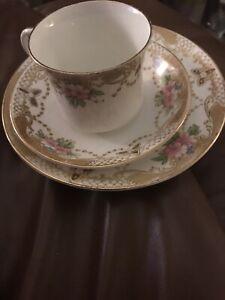Vintage Clifton Heathcote Bone China Floral Cup/saucer/plate Set