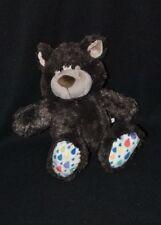 Peluche doudou ours NICI brun marron fonçé dessous pieds blanc color 25 cm NEUF