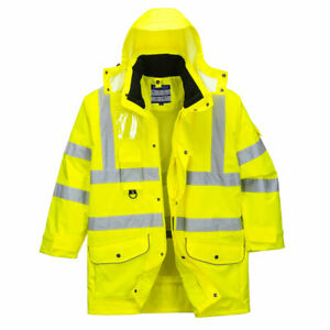Portwest S427 Hi Vis 7 in 1 Safety Traffic Breathable Waterproof Jacket - Yellow