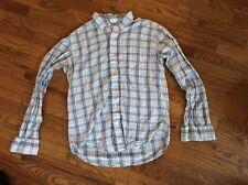 America Eagle Men's Long Sleeve Blue White Plaid Camp Shirt Vtg Slim Fit Size S