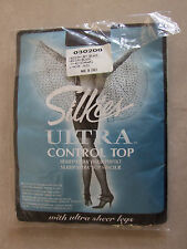 Silkies BNIP Black M Italian Ultra Control Top Tights with Ultra Sheer Legs FAB