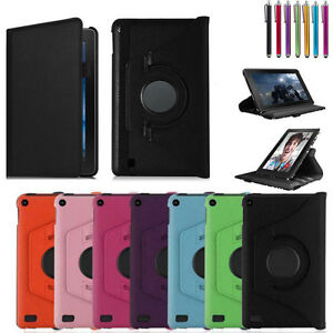360 Degree Rotating Leather Case Cover For Amazon Kindle Fire 7''/HD 8 10 2015