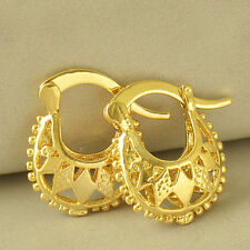 Cute Womens Girls 24K Gold Filled Small Hoop Earrings Hollow Out Jewelry