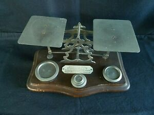 Antique Victorian Post Office Letter Scales Original Weights 1885 - 1897