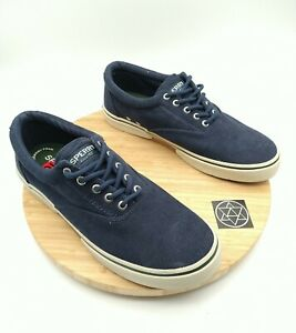 Sperry Halyard Canvas Casual Sneaker Shoe Navy Blue Corduroy US Mens Size 10.5