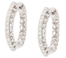 AFFINITY 1/5 CTTW WHITE DIAMOND STERLING SILVER HUGGIE HOOP EARRINGS QVC $161.50
