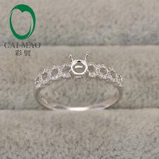 Ready Stock 4mm Round Cut Semi Mount 0.2ct Diamond 10K White Gold Ring Setting