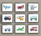 car truck airplane boy nursery wall art print transportation decor picture