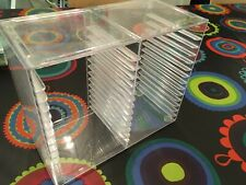 CD Storage Rack Box Case Shelf Stackable Clear Plastic 30 Standard  Jewel Holder