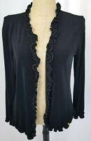 Chicos Travelers Cardigan Sweater Sz 3 XL Black Ruffled Long Sleeve Open Front