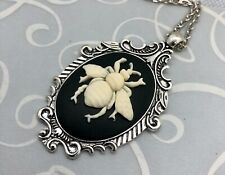 BUMBLEBEE Honey Bee CAMEO NECKLACE Victorian Vintage Styled Silver Pendant