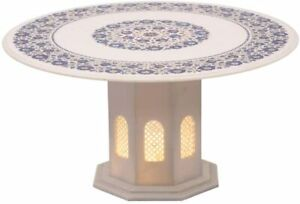 """36"""" White Marble Dining Table Top With Stand Lapis Fine Floral Inlay Decors W486"""
