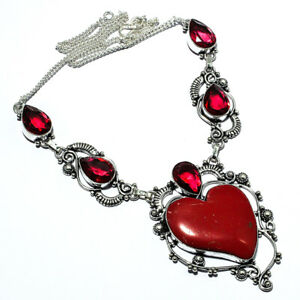 """Nice Red Coral, Red Garnet Handmade Ethnic Style Jewelry Necklace 18 """" LL"""