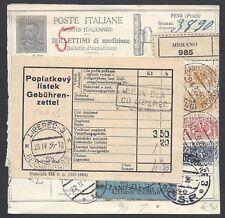 STORIA POSTALE REGNO 1936 Modulo Pacchi Postali 2L da Merano a Liberec (E8)