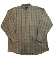 Pendleton Mens Long Sleeve Button Down Shirt Green Plaid Size L 100% Cotton