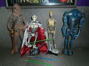 "HASBRO 12"" STAR WARS lot  General Grievous Chewbacca, Battle Droid, Super Battle"