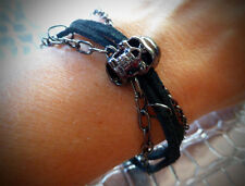 Black Sueded Leather and Chains w/ Gunmetal Skull BRACELET