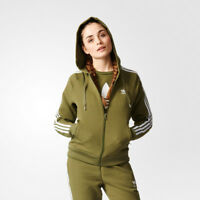New Adidas Women's Girl Z Hoodie Olive/Cargo Track Top Jacket trefoil