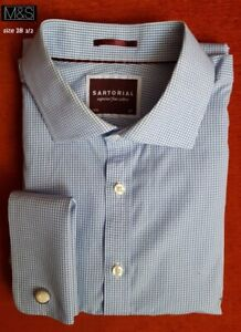 M&S SARTORIAL shirt sz 18 1/2 100% superior fine cotton. blue check Double cuff
