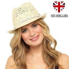 LADIES GIRLS STRAW STYLE TRILBY FEDORA SUN HAT BEACH SUMMER FESTIVAL UK SELLER