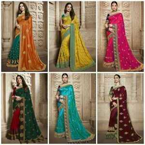 Boda Sari Bollywood Pakistaní Ropa de Fiesta Diseñador Étnico Sari Indio