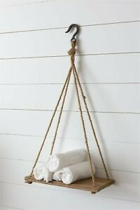 Hanging Wood Shelf with Rope and Hook