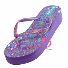 Flower Sparkling Wedge Platform Thong Flip Flops Slip On Beach Sandals Shoes