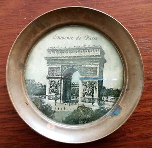 Souvenir de Paris Small Vintage Cuivre Brass Plate with Arc de Triomphe Image