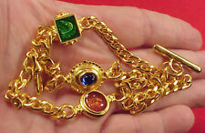 Vintage T Bar Goldplated Fancy Enamel Ornaments Pocket Watch Chain Necklace 19in