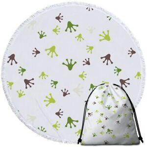 Frog Legs Green Animal White Round Beach Towel Picnic Throw Yoga Mat Blanket Bag