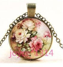 Vintage Flower Cabochon bronze Glass Chain Pendant Necklace TS-6009