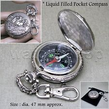 Silver Liquid Filled Compass Pocket Watch Style Outdoor Camping Hiking Keychain
