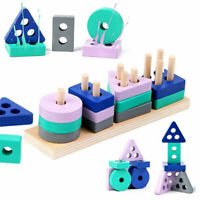 Wooden Montessori Toy Building Block Early Learning Educational Toys WNF