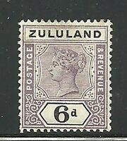 Album Treasures Zululand Scott # 19  6p Victoria Mint Hinged