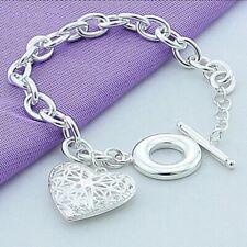 925 Sterling Silver Plated Women  Hollow Heart Pendant Bangle Chain Bracelet