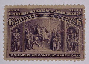"""Travelstamps:1893 US Stamps Sc #235 At Barcelona Mint NG 6 Cent """"The Colombians"""""""