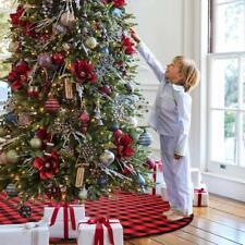 "36"" Buffalo Plaid Christmas Tree Skirt Ornaments Floor Mat Cover Home Decor"