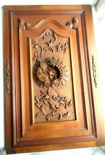 French cabinet door 19th, solid wood, carved architecture, acanthus and flowers