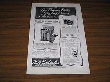 1938 Print Ad RCA Victrola Model U-125 Phonograph Radio Victor Records