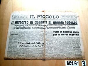SECONDA GUERRA IL PICCOLO 27 LUGLIO 1944 GOBBELS ORDINI DEL FUHRER  (8E1A-3)